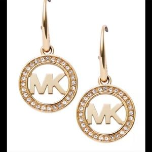 MK DESIGNER INITIAL LOGO ROUND CRYSTAL DANGLE DROP